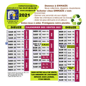 Calendrier Dieuze 2021 RECTO (Dates)
