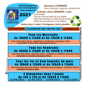 Calendrier Sarrebourg 2021 RECTO (Dates)